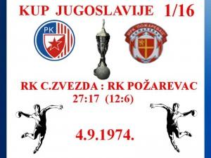 Handball rukomet RK Crvena zvezda 4.9.1974 .1974