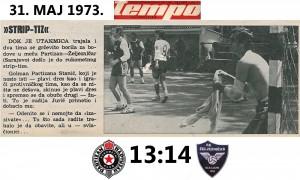 Handball RK Partizan-RK Železničar Sarajevo 1973.